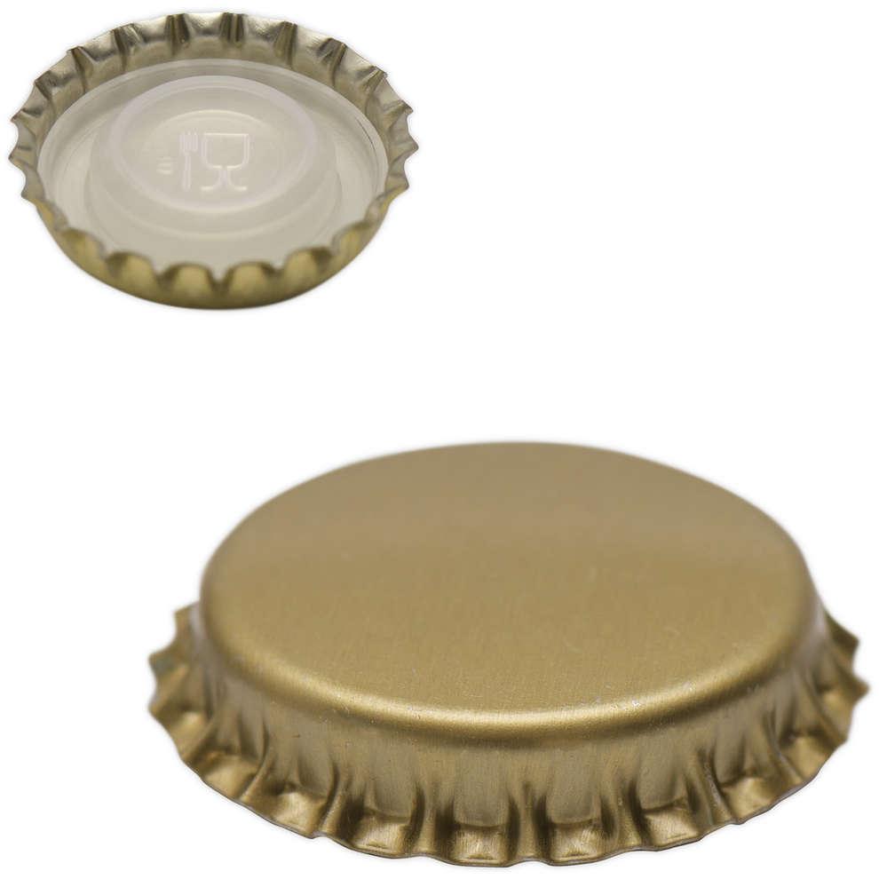 Tapón corona con tapa interior ⌀26 de oro (100 unidades)