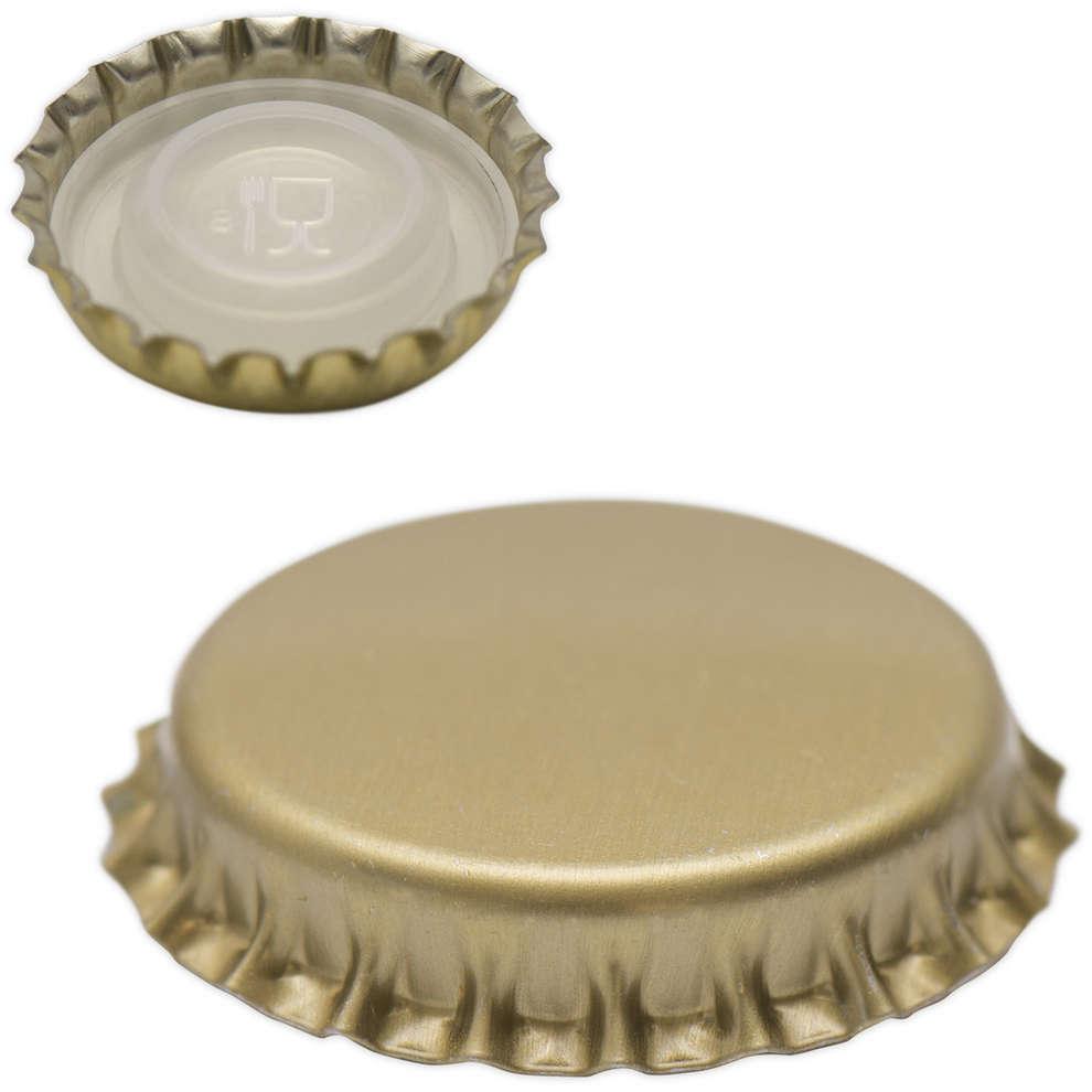 Tapón corona con tapa interior ⌀29 de oro (200 PC)