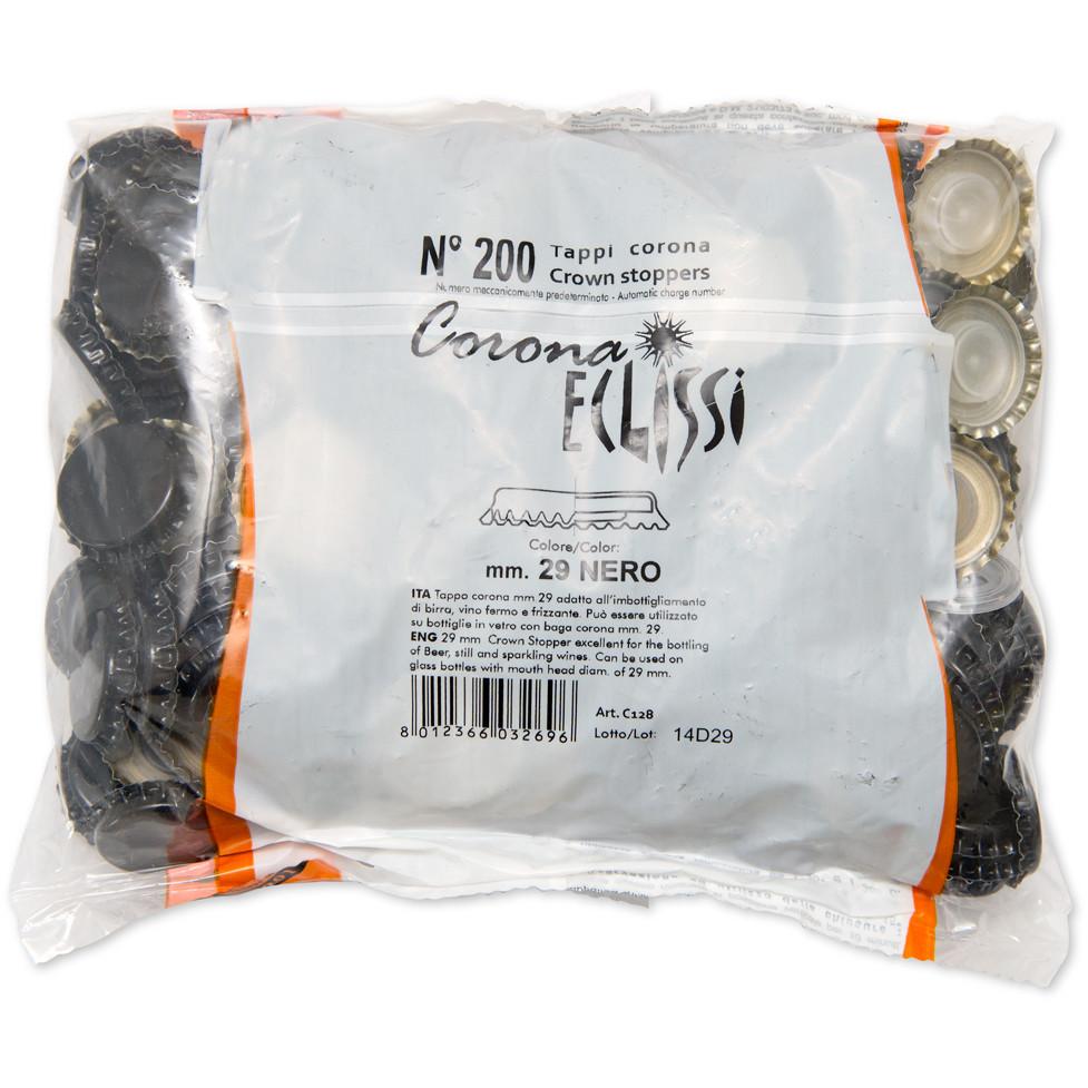 Tapón corona con tapa interior ⌀29 negro (200 PC)