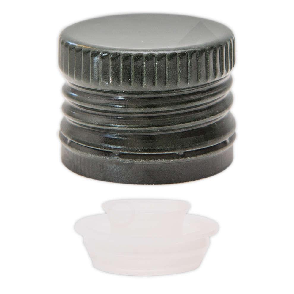 Tapón de rosca con salvagotas verde ⌀31,5 (100 pzas)