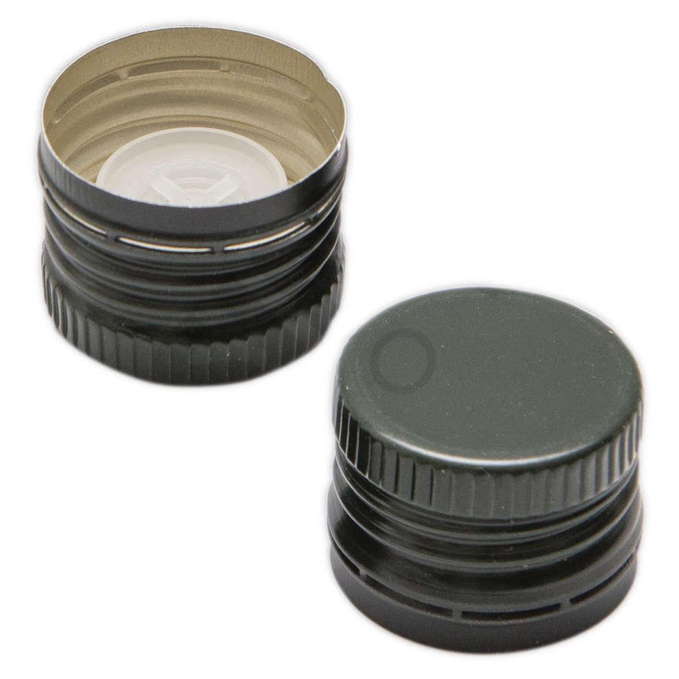 Tapón de rosca con salvagotas verde ⌀35 (100 pzas)