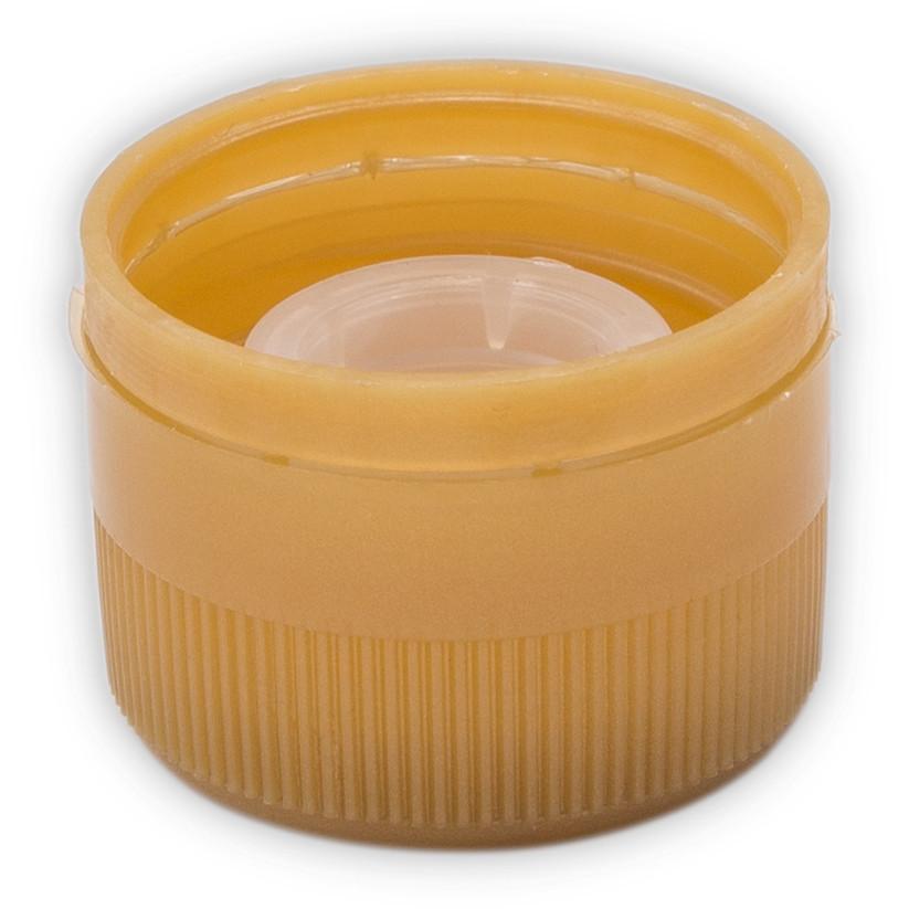 Tapón de rosca en plástico con salvagotas dorado ⌀31,5 (100 pzas)