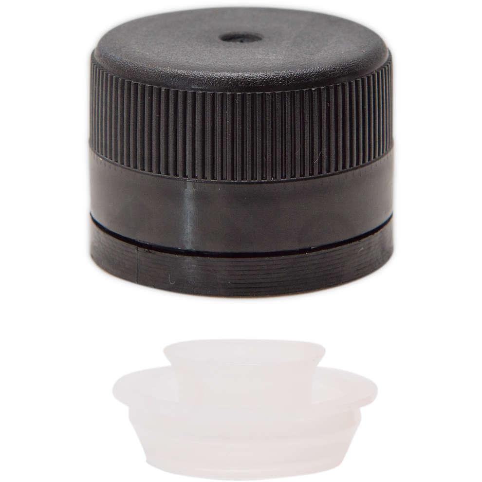 Tapón de rosca en plástico con salvagotas negro ⌀31,5 (100 pzas)