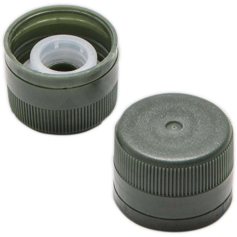 Tapón de rosca en plástico con salvagotas verde ⌀31,5 (100 pzas)