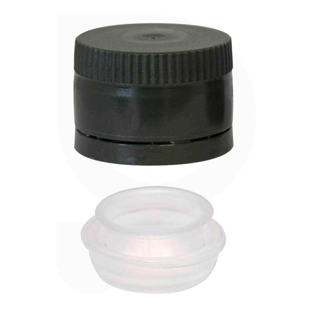 Tapón de rosca multidosis en plástico con salvagotas verde ⌀31,5 (100 pzas)