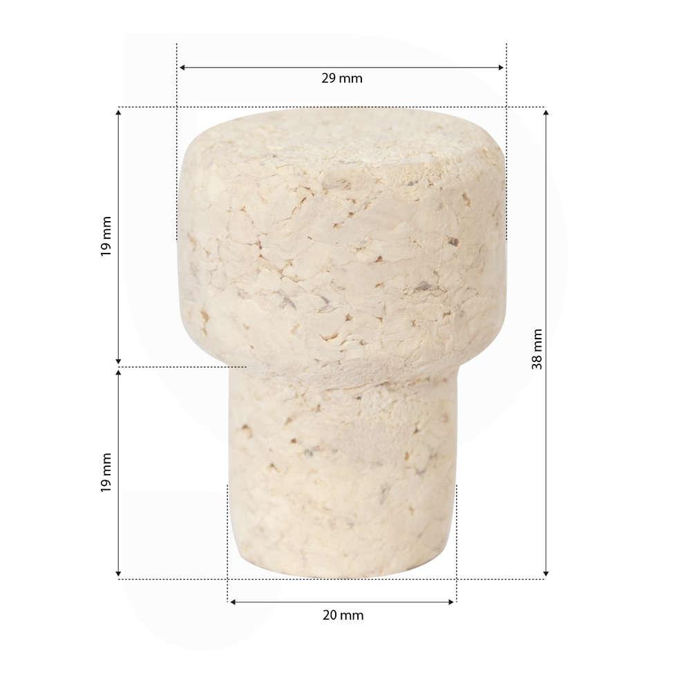 Tapon hongo en corcho ∅ 20 (100 pz)