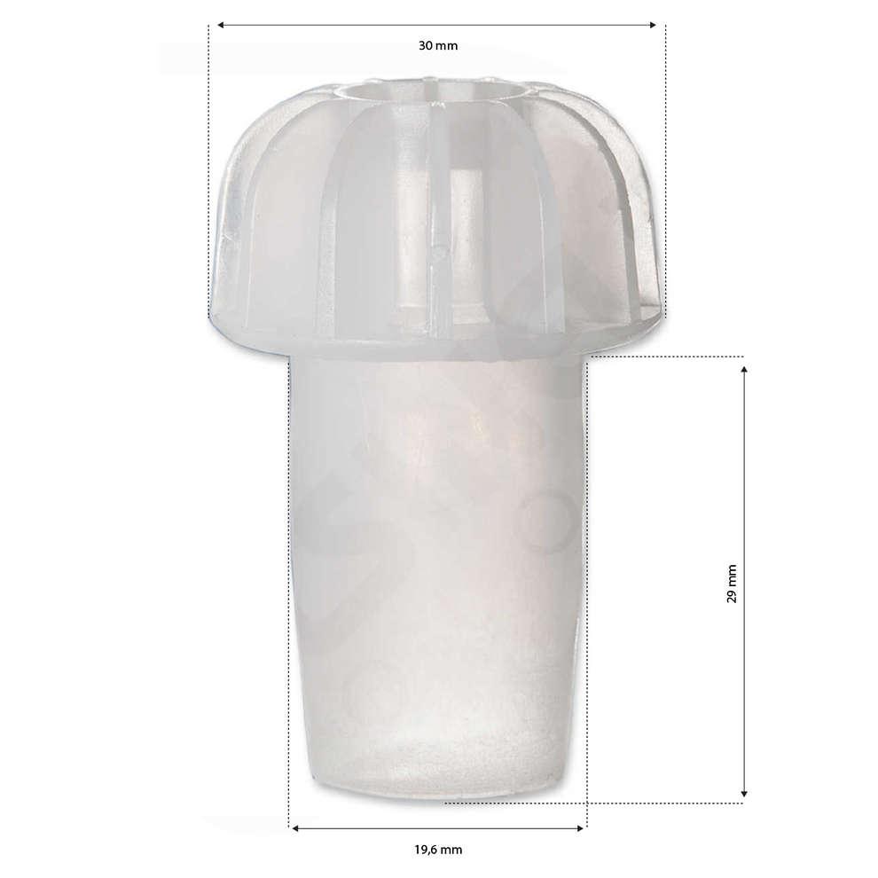 Tappo a fungo liscio testa alettata bianco (100 pz)