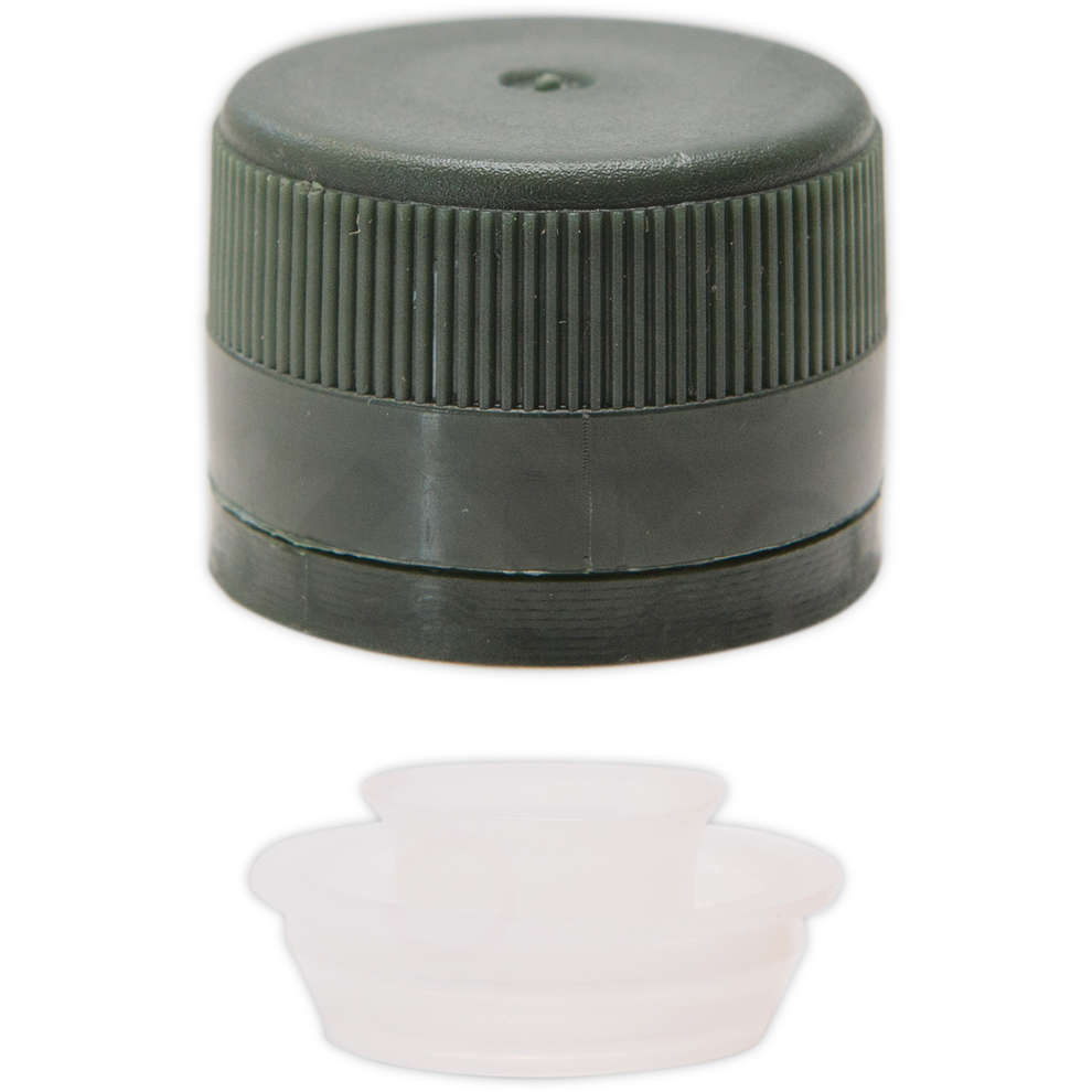 Tappo a vite in plastica con salvagoccia verde ⌀31,5 (100 pz)