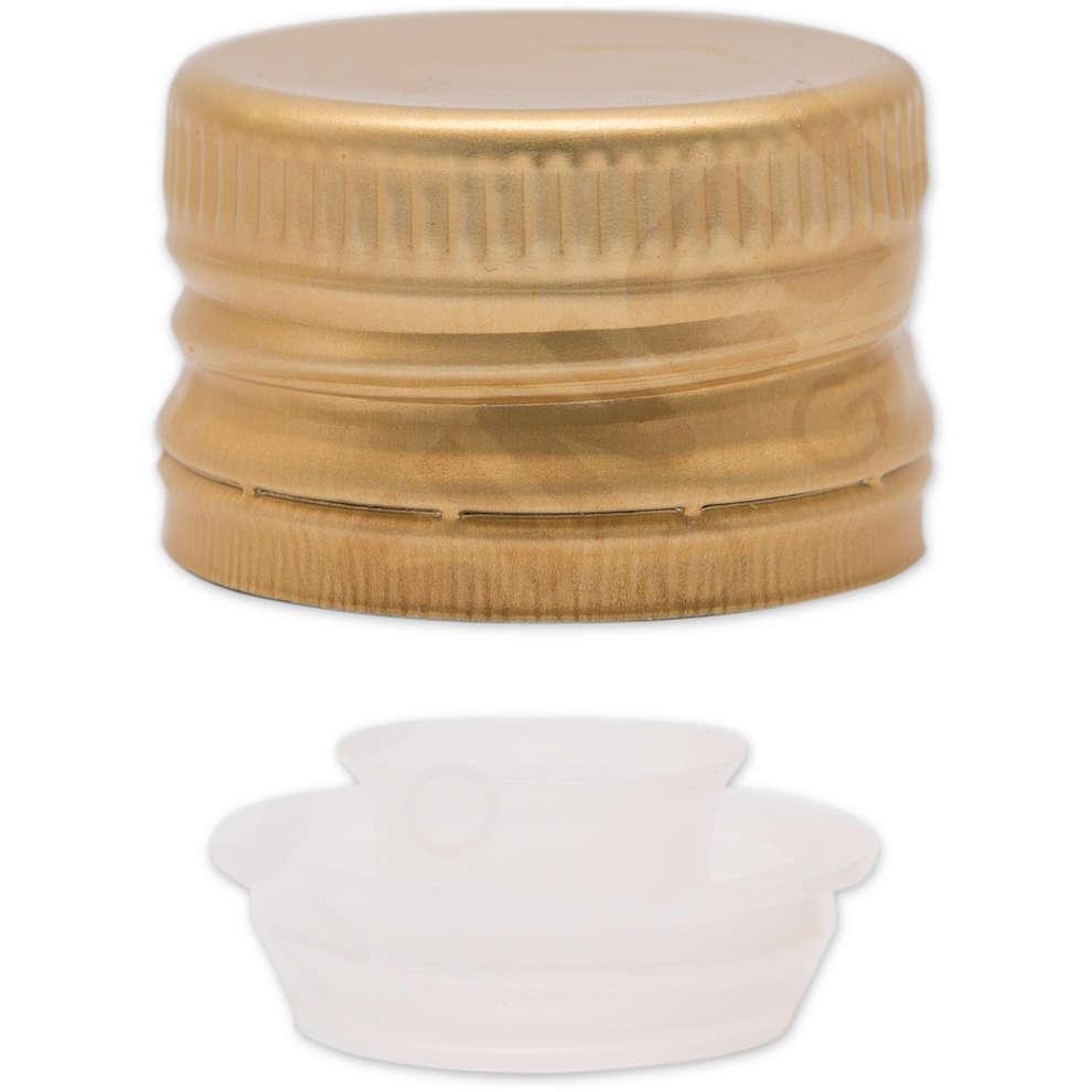 Tappo a vite prefilettato con salvagoccia dorato ⌀35 (100 pz)