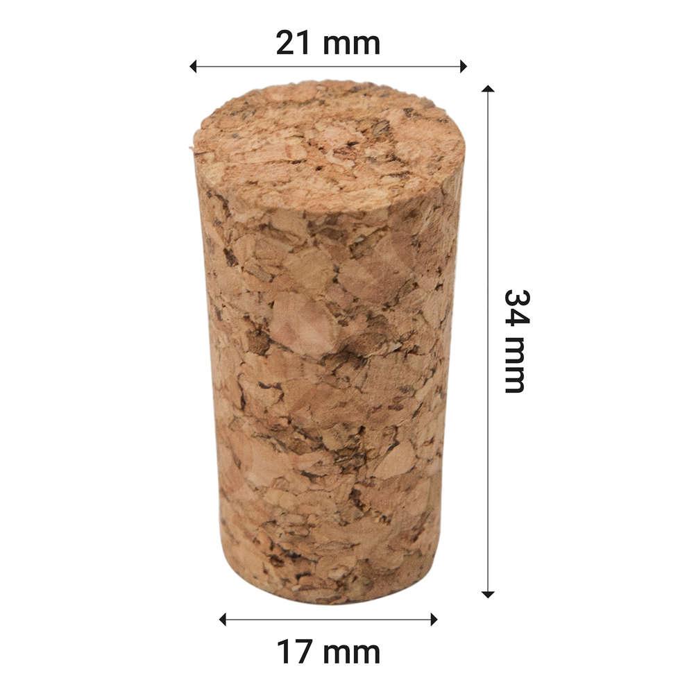 Tappo sughero agglomerato 17 X 21 X 34  (100 pz)