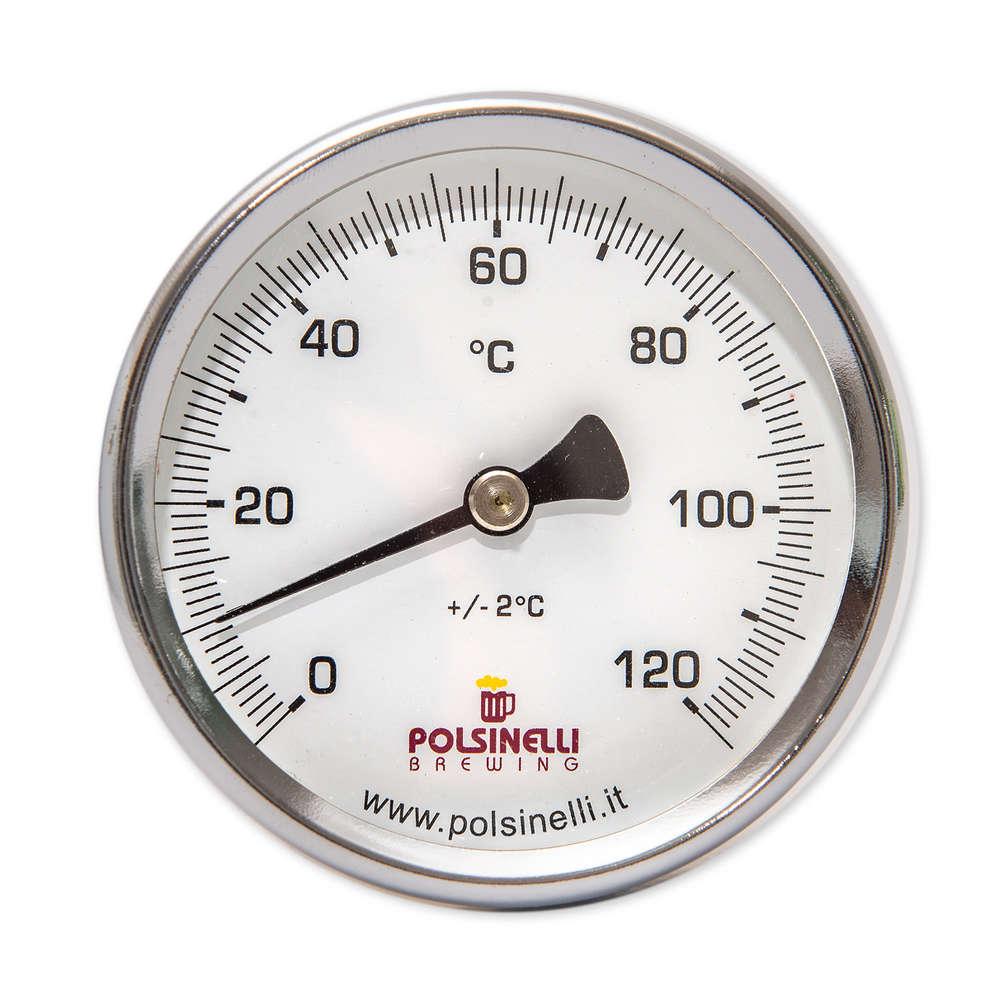 Termometro con pozzetto inox AISI 304 - 65 mm