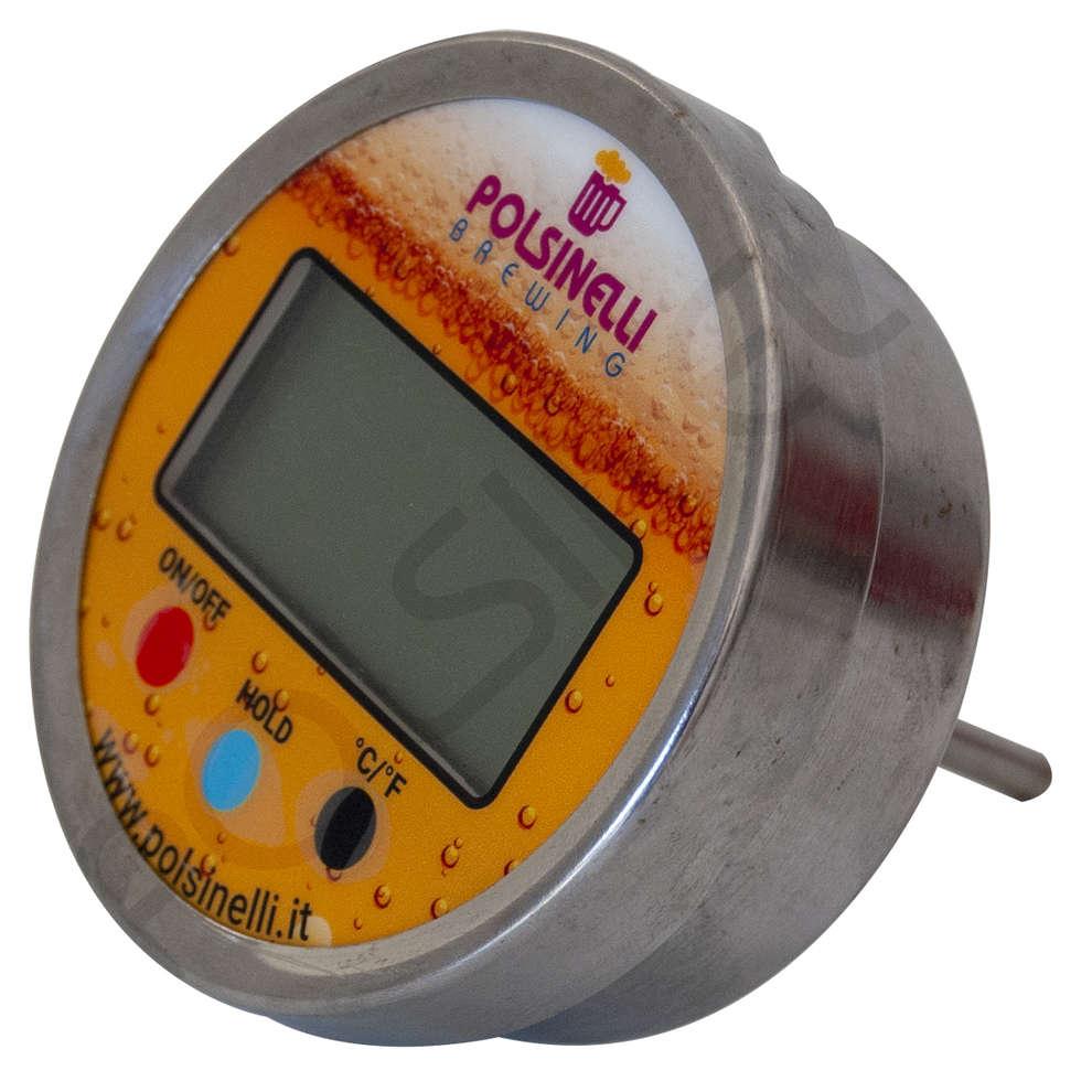 Termometro digitale con pozzetto inox AISI 304 - 40 mm