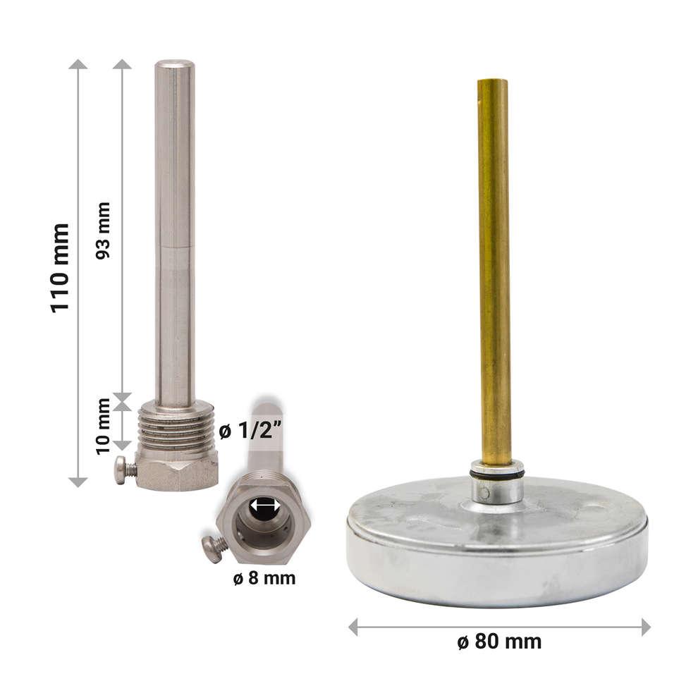 Termometro lungo con pozzetto inox AISI 304- 110 mm
