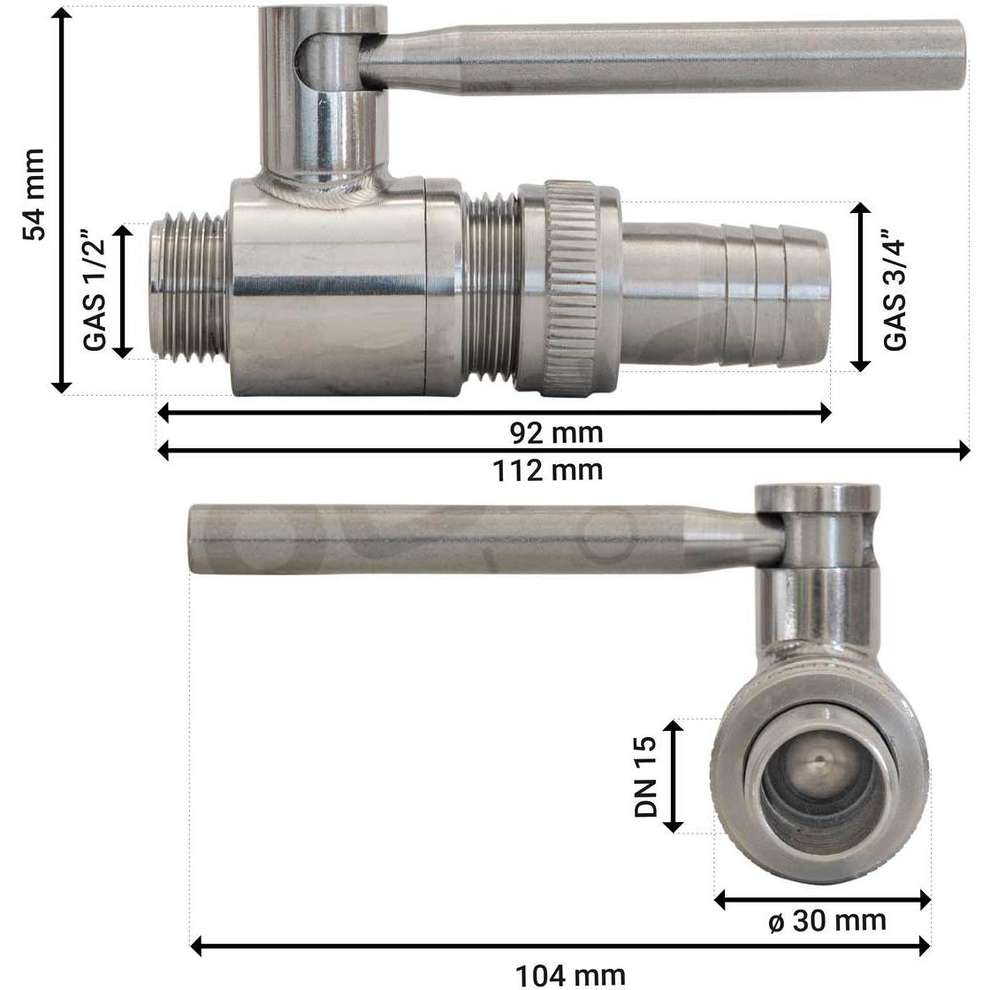 "Válvula de esfera inox 1/2"" x 3/4"" M/M con espiga para manguera"
